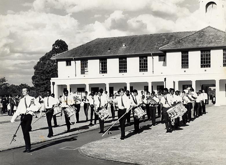 Nairobi School Band - Marching in the Quad on Speech Day 1970