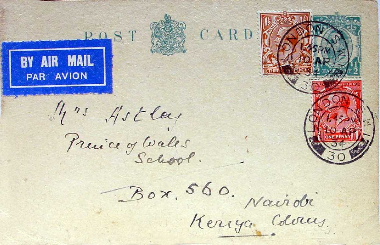 Postcard sent by Capt Nicholson to Barbara Astley