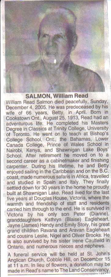 Obituary Notice for William Read
